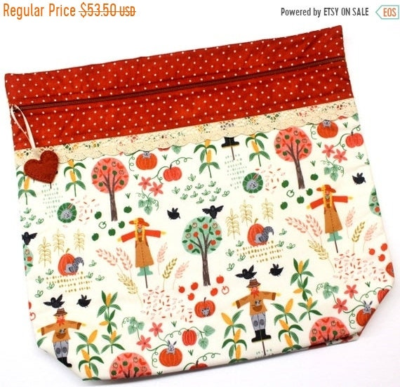 SALE MORE2LUV Pumpkin Patch Cross Stitch Project Bag