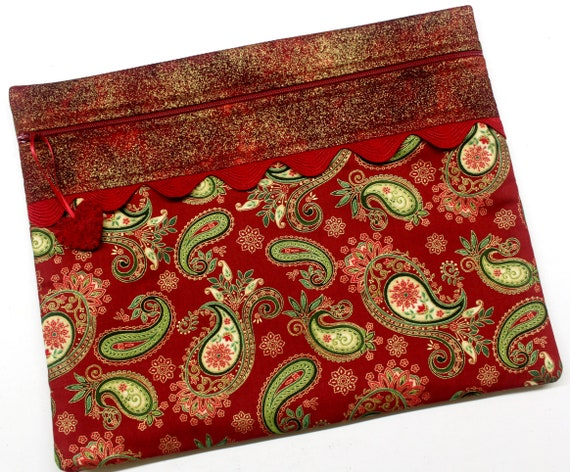 Metalic Holiday Paisley Cross Stitch Project Bag