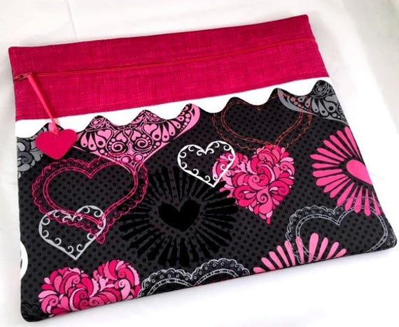 Valentine Bright Hearts Cross Stitch Project Bag
