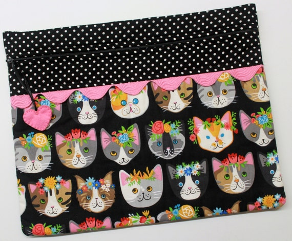 Flower Cats Cross Stitch Project Bag
