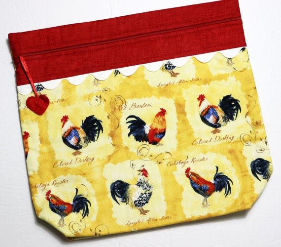 MORE2LUV Red Rooster Cross Stitch Project Bag