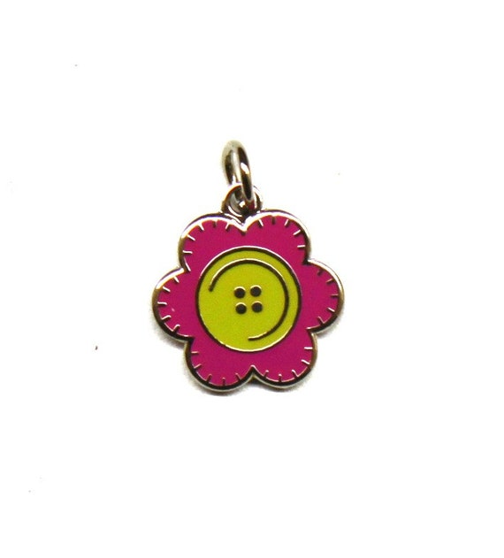 "Stitched Button Flower 1/2"" Enamel Charm"