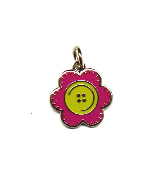 "Stitched Button Flower 1/2"" Enamel Charm"
