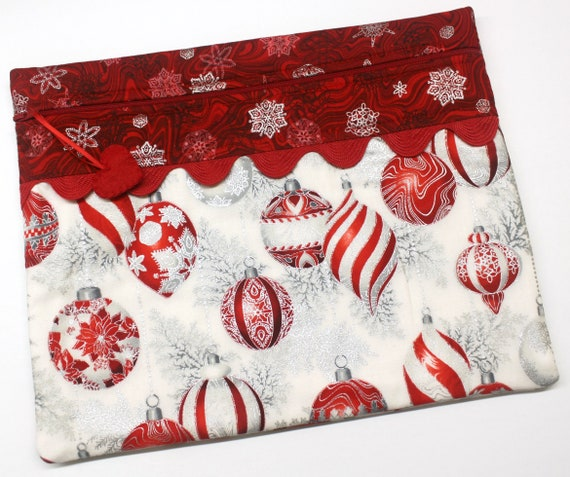 Red Silver Ornaments Cross Stitch Project Bag