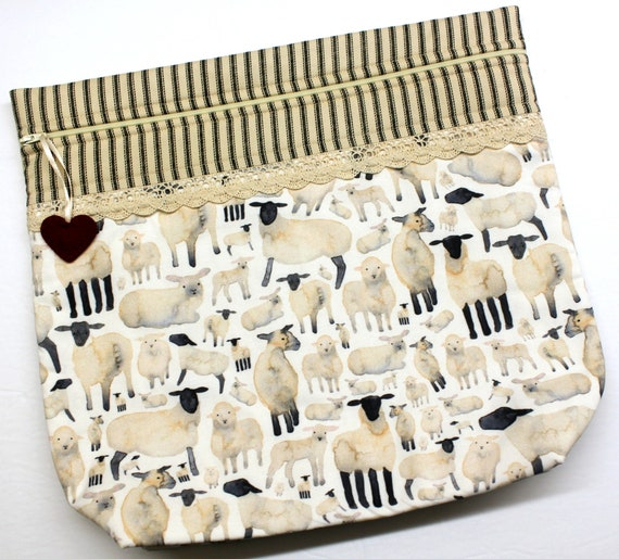 MORE2LUV Primitive Sheep Cross Stitch Project Bag