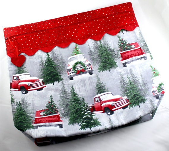 MORE2LUV Snowy Red Truck  Project Bag