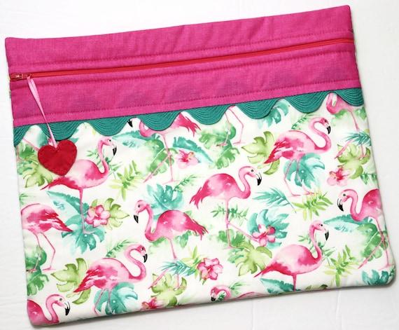 Watercolor Flamingos Cross Stitch Project Bag