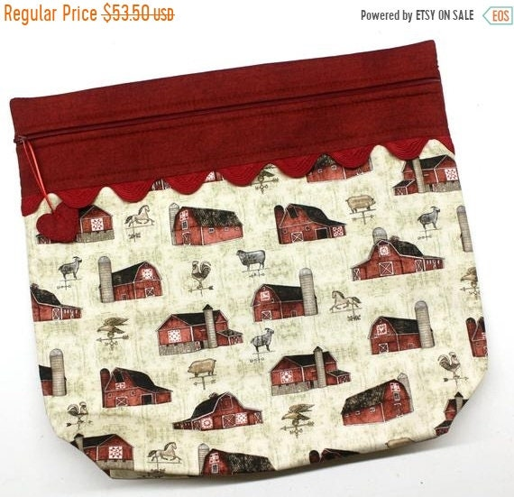 SALE MORE2LUV Farmhouse Barns Cross Stitch Project Bag