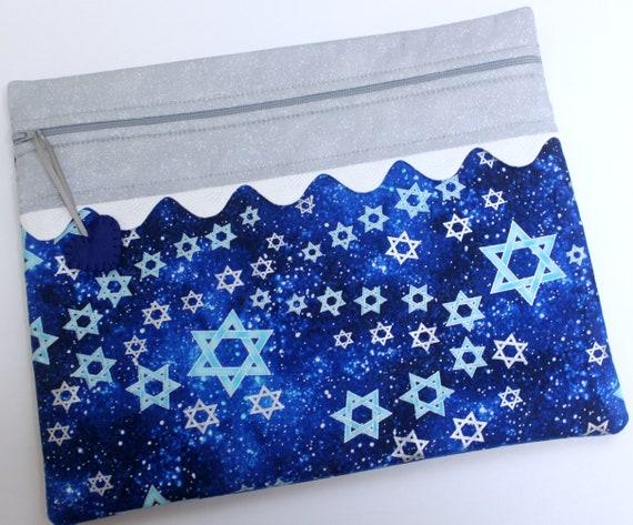 Star of David Navy Blue Silver Hanukkah Cross Stitch Project Bag