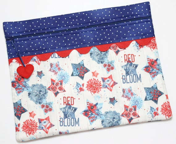 Red, White & Bloom Cross Stitch Project Bag