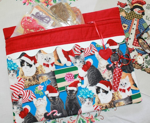 Santa Claws Cats Cross Stitch, Sewing, Embroidery Project Bag
