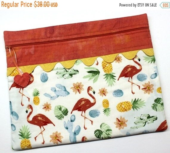 SALE Flamingos and Pineapples Cross Stitch Project Bag