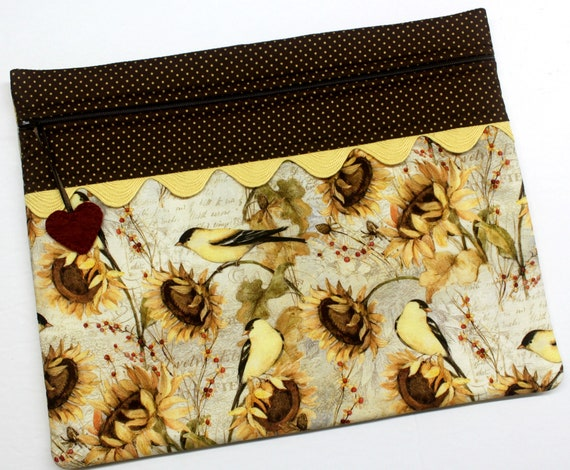 Sunflowers and Finches Cross Stitch Project Bag