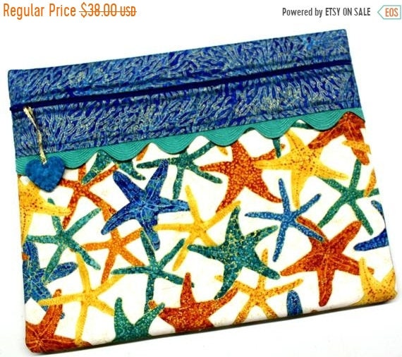 SALE Metalic Gold Starfish Cross Stitch Project Bag