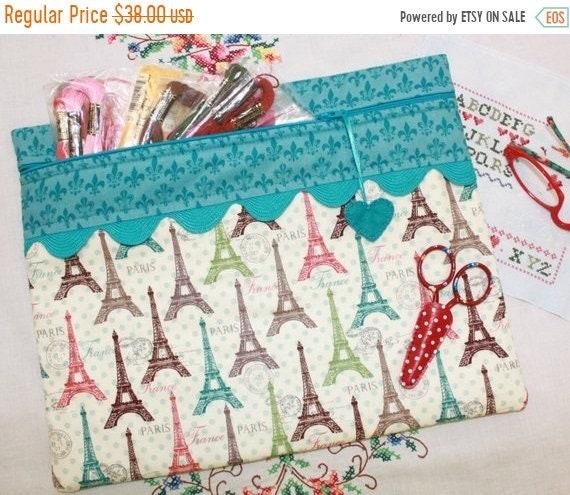 SALE Paris Polka Dots Cross Stitch Project Bag