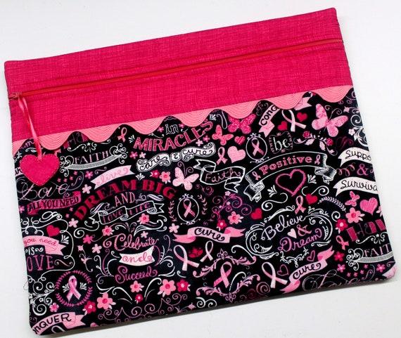 Breast Cancer Chalk Art Cross Stitch Project Bag