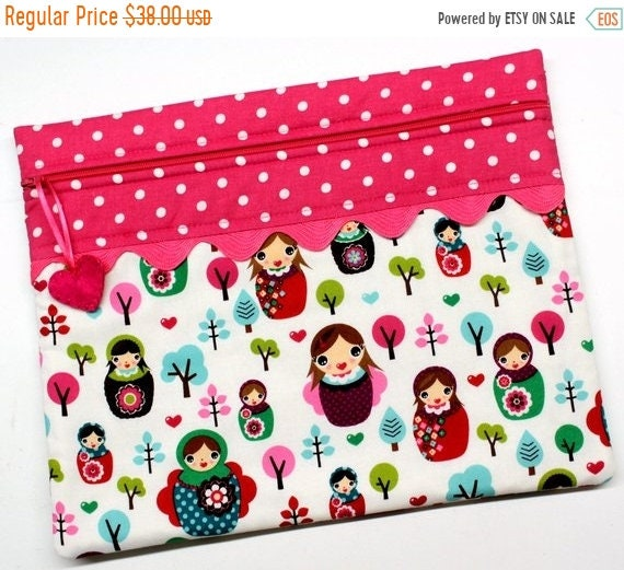 SALE I Heart Matryoshkas Cross Stitch Project Bag