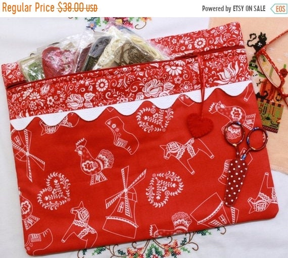SALE Dutch Red Folk Art Cross Stitch Project Bag