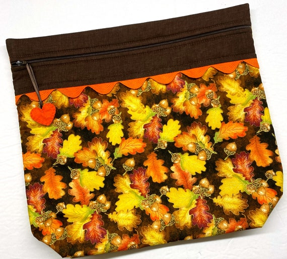 MORE2LUV Autumn Gold Leaves Acorns Project Bag