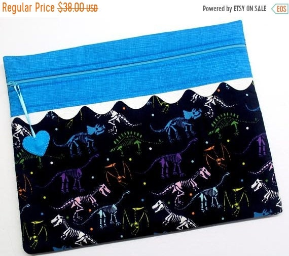 SALE Dinosaur Bones Cross Stitch Project Bag