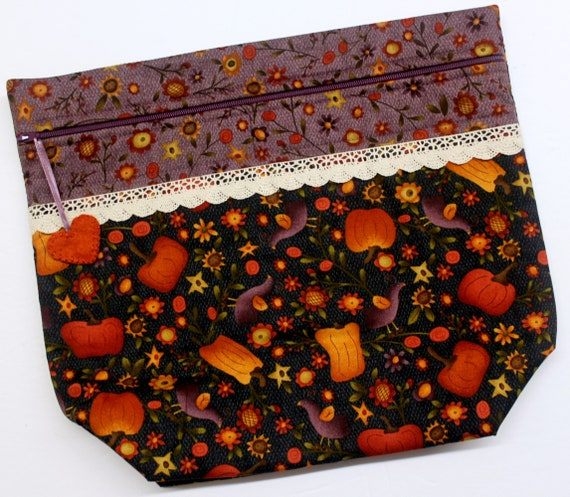 Big Bottom Primitive Crows Pumpkins Cross Stitch Project Bag