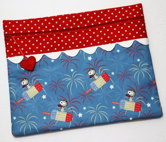Snoopy Patriotic Popsicle Cross Stitch Project Bag
