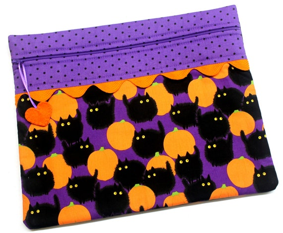Poofy Scaredy Cats Cross Stitch Project Bag