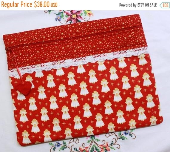SALE Red Metalic Gold Tiny Angels Cross Stitch Project Bag