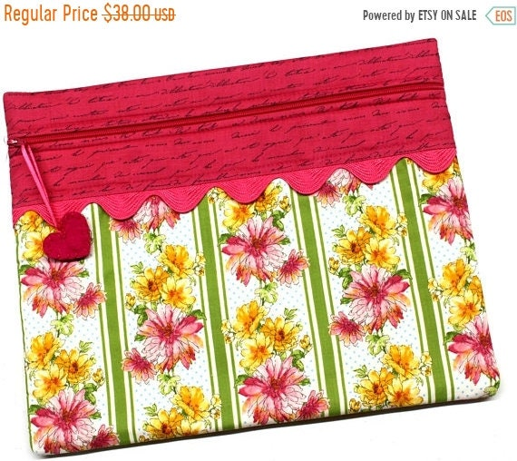SALE Spring Flowers Cross Stitch  Project Bag