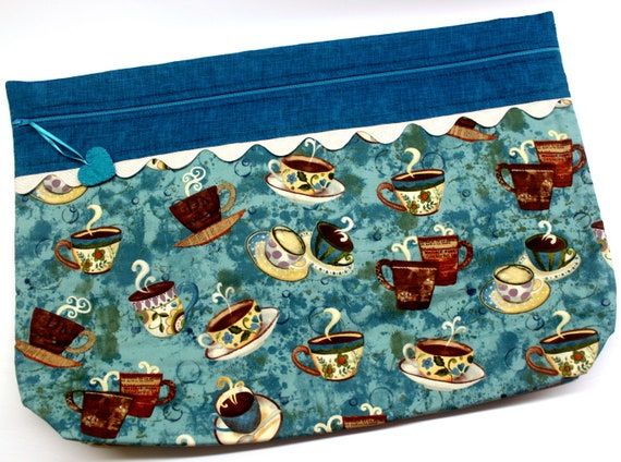 LOTS2LUV Teal Cuppa Cross Stitch Project Bag