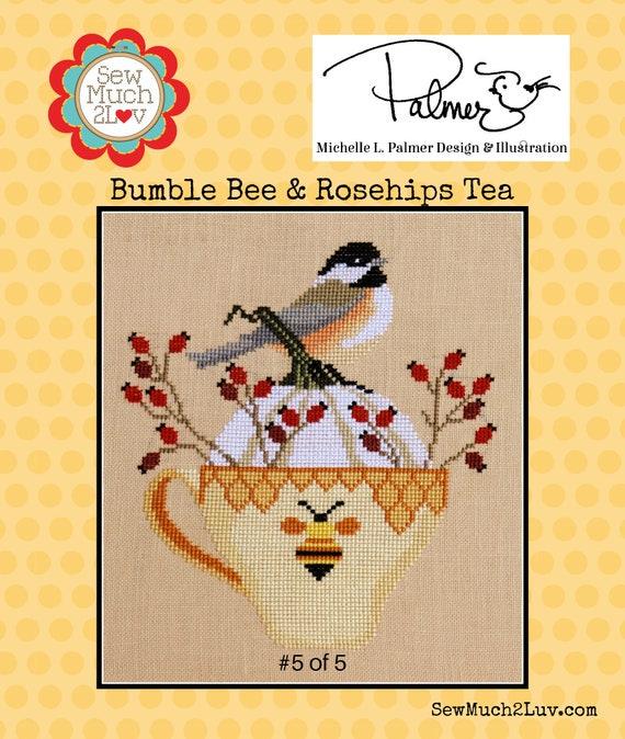 Bumble Bee & Rosehips Tea Cross Stitch Chart