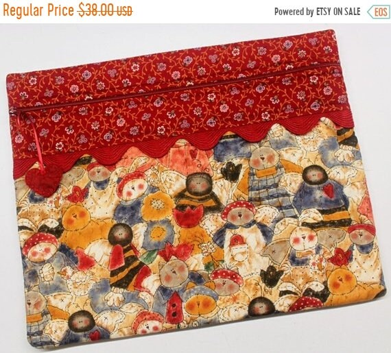 SALE Cats, Bunnies and Bees Cross Stitch Project Bag