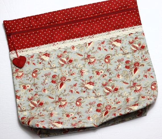 MORE2LUV Pale Blue Florals Cross Stitch Project Bag