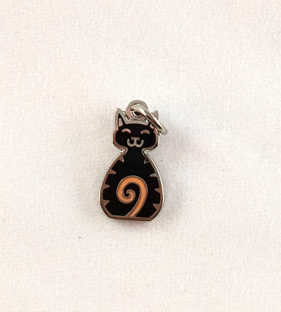 "Black Cat 1/2"" Enamel Charm"