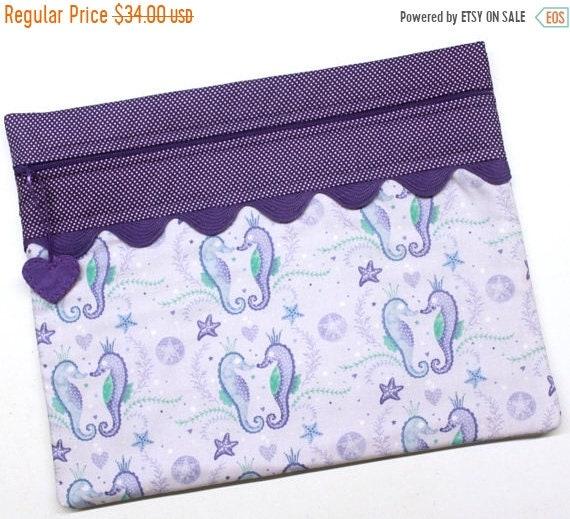 Purple Sea Horse Cross Stitch  Project Bag