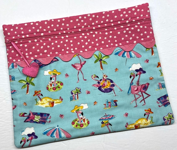 Beach Party Flamingos Cross Stitch Project Bag