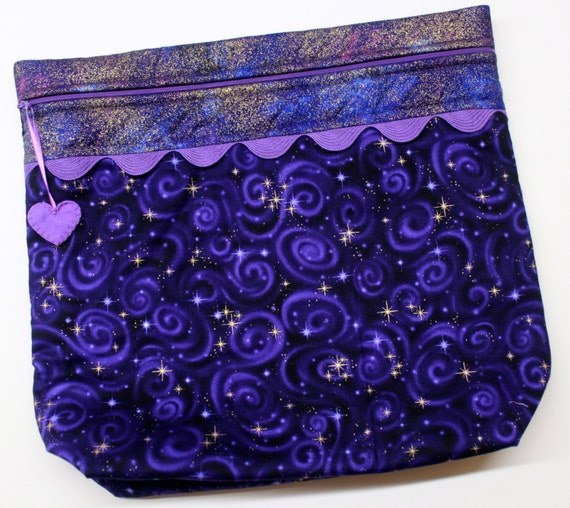 MORE2LUV Purple Metalic Gold Star GazerProject Bag