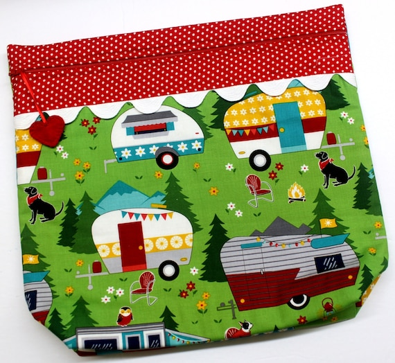 MORE2LUV Let's Go Camping Cross Stitch Project Bag