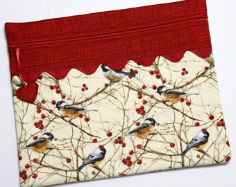 Winter Chickadees Cross Stitch Project Bag