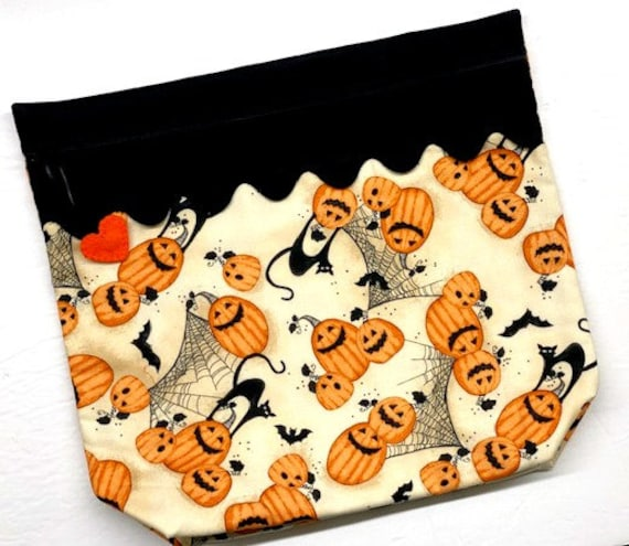 MORE2LUV Cats, Bats and Jack-o-lanterns Cross Stitch Project Bag