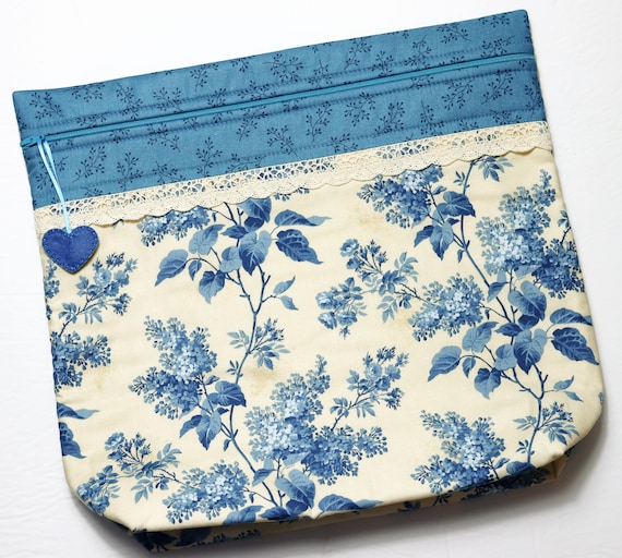 MORE2LUV Lilacs in Blue Cross Stitch Project Bag
