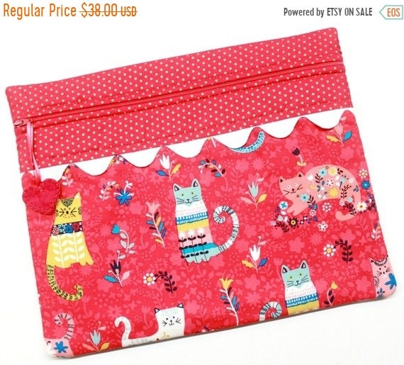 SALE Bright Pink Flower Cats Cross Stitch Project Bag