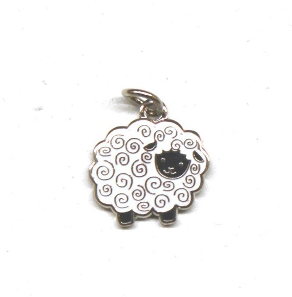 "Fluffy Sheep 1/2"" Enamel Charm"