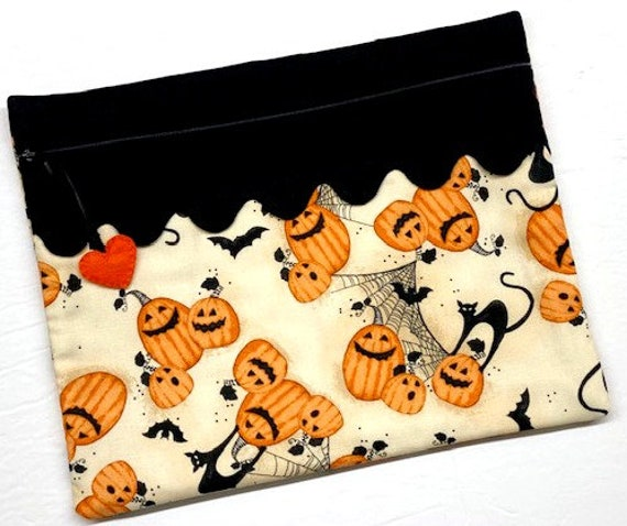 Cats, Bats and Jack-o-lanterns Cross Stitch Project Bag
