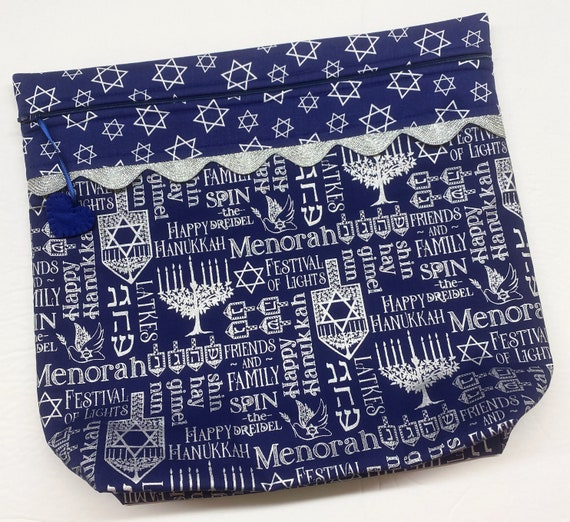 MORE2LUV Blue Silver Hanukkah Cross Stitch Project Bag
