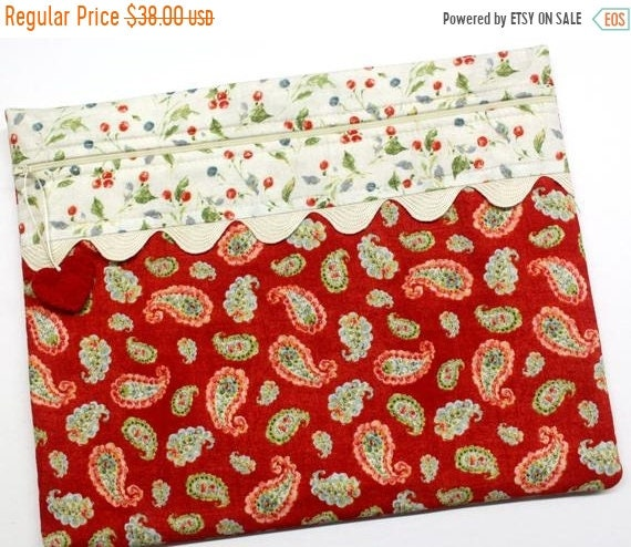 SALE Soft Red Paisley Cross Stitch Project Bag