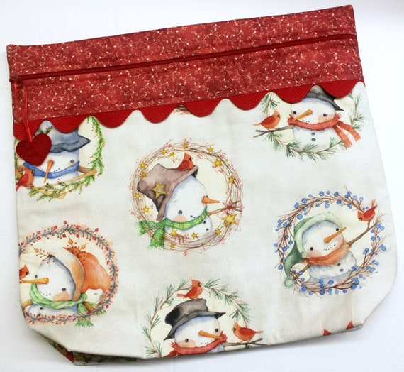 MORE2LUV Snowman Wreaths Cross Stitch Project Bag