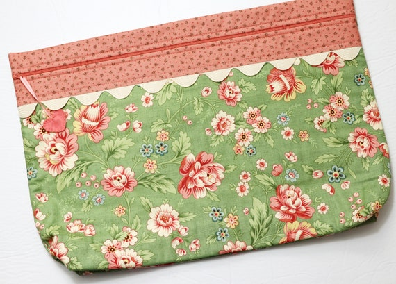 LOTS2LUV Coral Floral Cross Stitch Project Bag