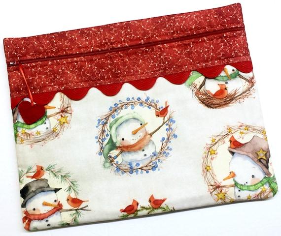 Snowman Wreaths Cross Stitch Project Bag