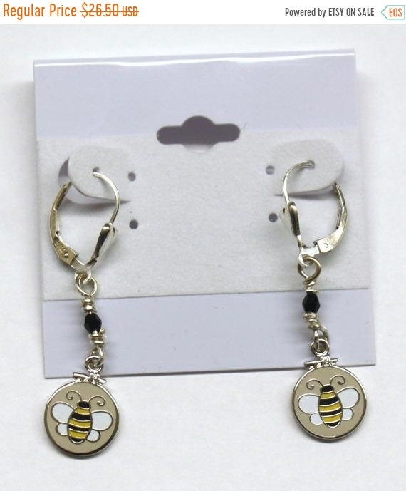 SALE Sterling Silver Earrings with Swarovski crystals and Embroidery Hoop Bees